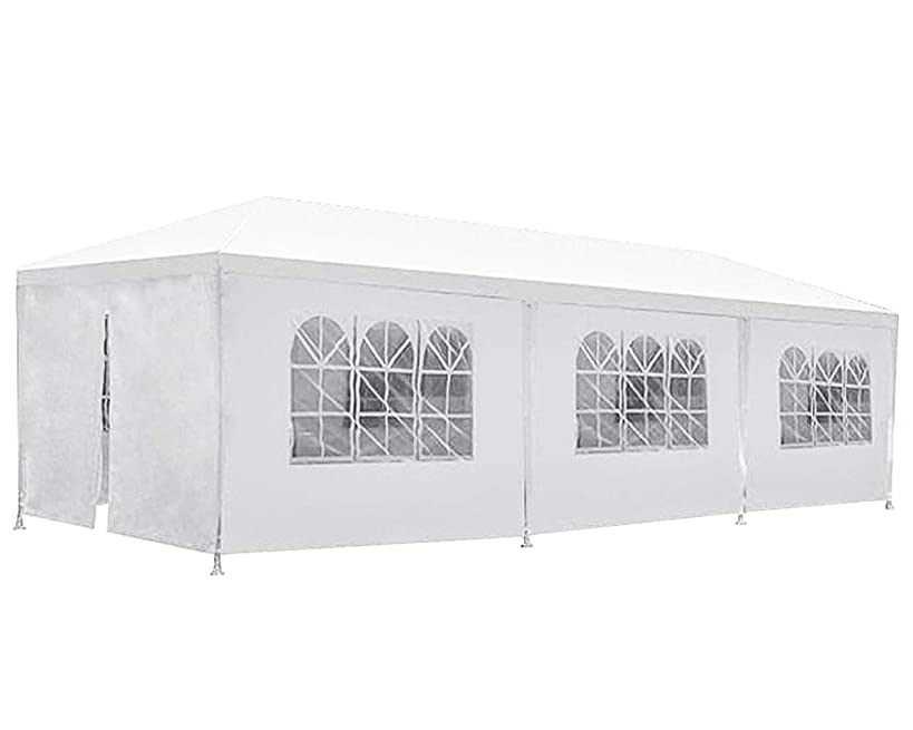 BestMassage Party Tent Patio Tent Wedding Tent 10x30ft Outdoor Patio Gazebo BBQ Shelter with 8 Removable Sides Walls for Party Garden