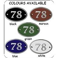 Modern chrome house number oval