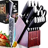 Knife Set with Build-in Sharper Block,15Pcs Damascus Kitchen Knife Sets Made of German Stainless Steel (Professional Self Sharping Knives & Classic Wooden Block ) Perfect Housewarming Wedding Gifts