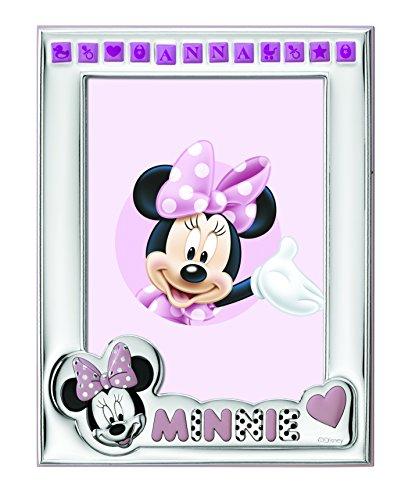 Disney Baby Minnie Mouse - Cornice Porta Foto da Tavolo in Argento per Neonato Personalizzabile con il Nome della Bambina Semplice e Tutto Incluso