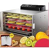 HAOT Máquina deshidratadora de Alimentos Premium con 6 bandejas de Acero Inoxidable, Temporizador Digital LED y Control de Temperatura de 35~70 ° C para Carne de Res, cecina, Fruta, golosinas p