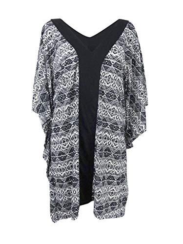 Dotti Women's Diamond Daze Printed Tunic Swimsuit Cover-Up Black/White Medium