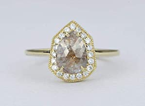 0.94ct Salt and Pepper Diamond Engagement Ring 14K Yellow Gold Diamond Halo Pear Shape AD1746
