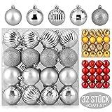 Zogin Adornos de Adornos navideños Bolas de árboles de Navidad Decoraciones para Navidad Decoración y Fiestas (Plata, 32piezas-4cm)