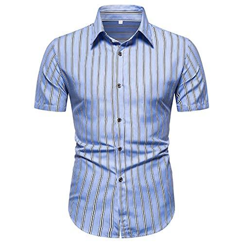 Ocuhiger Camisas Informales De Manga Corta Estampadas para Hombres Camisa De Vacaciones En La Playa Hawaiana Camisa Ajustada Estándar con Botones Y Solapa Blusa Azul
