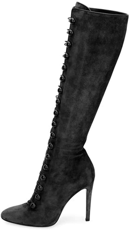Gasgff Kniestiefel, Europa Amerika Frau Schwarz Schlank High Heel Large Größe Wildleder Anti-Haar Die Neue Sexy Mode Herbst Winter