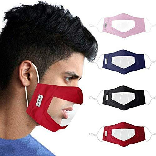 AUBIG 4 Stück Visier Gesichtsschutz aus PVC Sichtbar Mund-und Nasen Transparente Schutzschild Visier für Kellner Restaurants Hotels Stil 3
