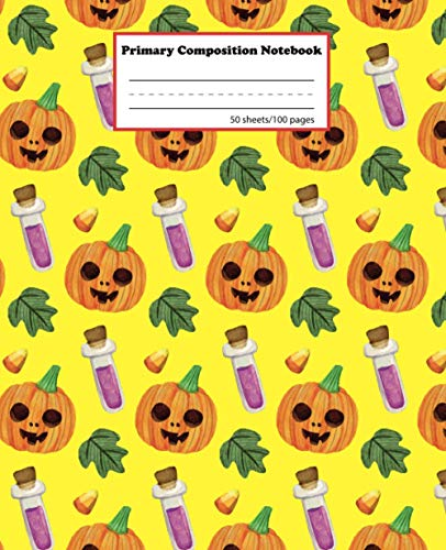 Halloween Primary Composition Notebook: Primary Story Journal for Boys and Girls | Grades K-2 Kindergarten Writing Journal | Draw and Write School ... | Dotted Midline and Picture Space | Pumpkin
