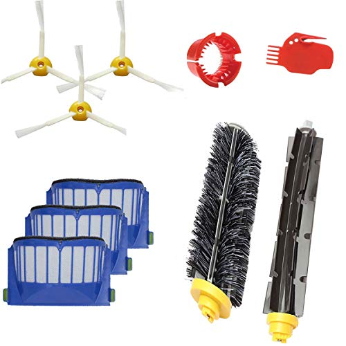 beststar Kit d'accessoires de Rechange pour Brosse à Filtre (brosses latérales, filtres, Brosse à Poils et etc.) Compatible avec Les aspirateurs iRobot Roomba série 600 620 630 650 660#3908