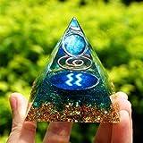 ABCABC Patrón Hecha a Mano Acuario Urano Planeta Esfera Pirámide Geometría con Azul Piedra Preciosa del Cuarzo de Cobre (Size : 60mm)