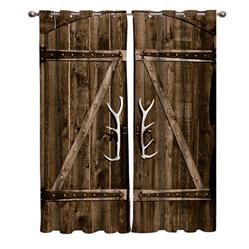 Zombie Decor Kitchen Blackout Curtains Window Drapes Treatment, 2 Panels Set for Kitchen Cafe Office, Deer Antler Door Handles Rustic Old Wooden Country Life Architecture Doorway, 80W x 84L inch