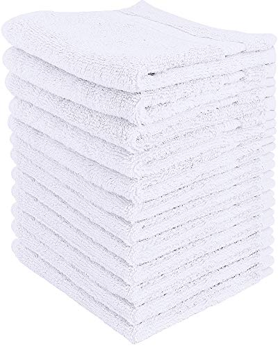 Utopia Towels - Juego de Toallas Premium (30 x 30 cm, Blanco) 600 gsm 100% algodón para la Cara, Toallas Altamente absorbentes y de Tacto Suave para la Punta de los Dedos (Paquete de 12)