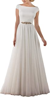 A-Line Bateau Neckline Cap Sleeves Satin Bodice Tulle Wedding Dress Backless Bridal Gown UB183