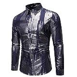ARbuliry Herrenhemden, langärmliges helles Herren-Freizeithemd mit Pailletten Vollknöpfe Atmungsaktive Herrenoberteile für Nachtclub-Partyshows