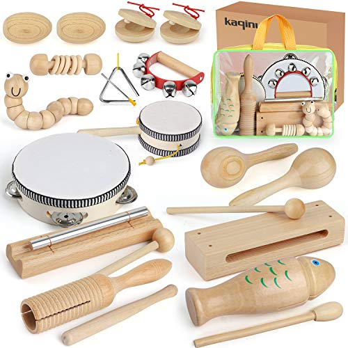 KAQINU Kids Musical Instruments, 21Packs Toddlers 100% Natural Wooden Music Percussion Toy Sets for Childrens Preschool Educational Early Learning, Musical Toys for Age1-3 Toddlers with Bags