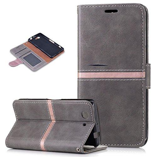 Kompatibel mit Sony Xperia Z3 Compact Hülle,PU Lederhülle Flip Hülle im Ständer Wallet Soft Silikon Magnetverschluss Kunstleder Hülle Tasche Tasche Schutzhülle für Sony Xperia Z3 Compact,Grau