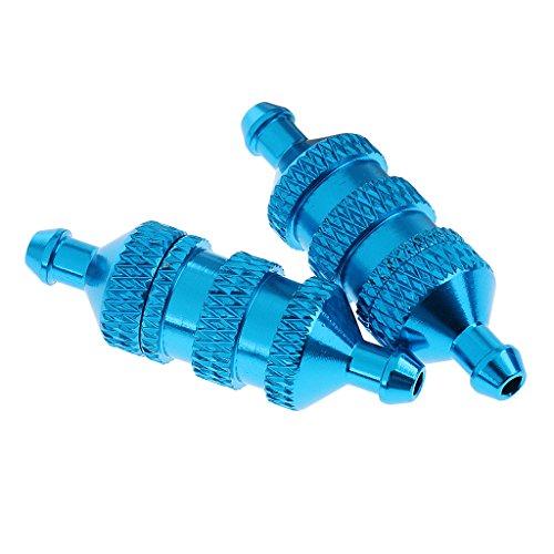 Sharplace 2 Piezas Filtra Piezas de Repuesto Petrol de Aluminio para 1/8 1/10 Hsp Nitro Redcat RC Coche - Azul