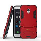 Heartly Graphic Kickstand Hard Dual Rugged Armor Hybrid Bumper Back Case Cover for Meizu M3s - Hot Red