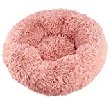 ANXUAN Luxury Fluffy Dog & Cat Bed Plush Donut Cuddler Round Pet Bed (L, Pink)
