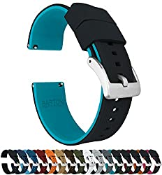 multi purpose freestyle watch band 18mm Black / Light Blue – Silicon Barton Elite Watch Strap – Quick Release Fastener – Strap Color and Width Choice