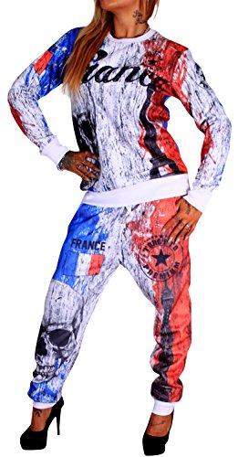 Violento Damen Jogginganzug Länder Flaggen (XL, Frankreich)