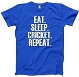 Tee T-shirt pour enfant avec inscription « Eat Sleep Cricket Repeat » Cadeau et tailles 3 à 13 ans - Bleu - XXX-Small