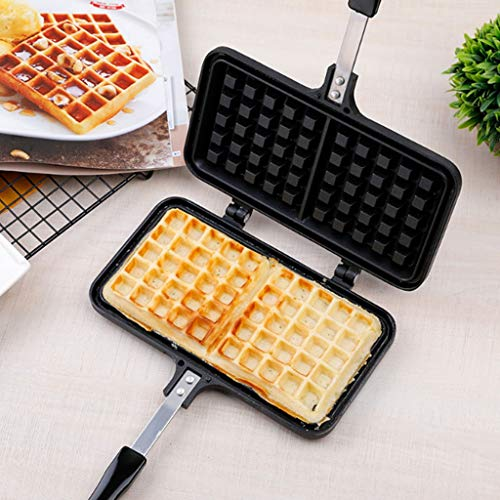 Find Bargain Aluminum Alloy Waffle Maker Non-stick Cake Bakeware Egg Gofrera Mold Iron DIY Biscuit Double Side Grill Baking Pan For Gas Stove