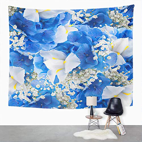 Y·JIANG Tapiz de flores de pétalo verde en ramo de hortensias azules e irrises blancos agua morada dormitorio decorativo gran tapiz de pared para sala de estar, dormitorio, 80 x 60 pulgadas