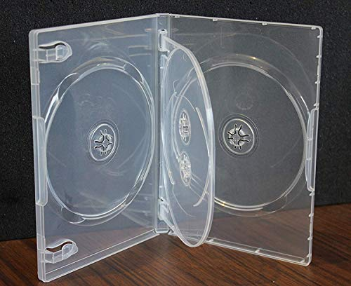 2 Pack Crystal Clear Standard Size 4 DVD Case Box 14mm Four Discs Holder W Flap