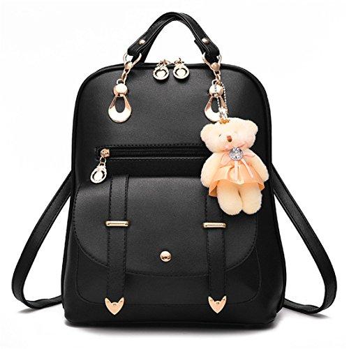 Dunland Fashion Casual Cute PU Leather School Bag Backpack Shoulder Bag for girls Black