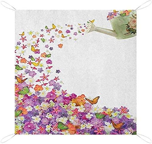 MODORSAN Floral Beach Decke Sandproo Schmetterlinge Narzisse Blumen Veilchen und Stiefmütterchen Ausgießen aus Alten Gießkanne Benutzerdefiniertes Picknick Ma Picknickkorb Wasserdichtes Picknick