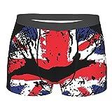 Donono Calzoncillos tipo bóxer para hombre con la bandera de Gran Bretaña, lápiz labial en los labios, ropa interior cómoda, Negro, XL