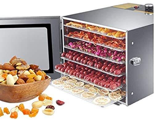 LJJOO Máquina de deshidratador de alimentos, acero inoxidable 6 bandejas, super capacidad, múltiples plantadores de alimentos, for bruscos/carne/carne/fruta/verdura, BPA gratis Deshidratadores