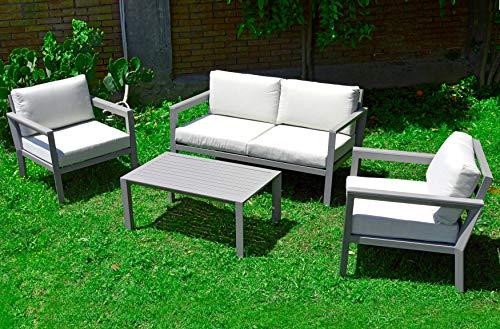 Scaramuzza Modo Salotto da Giardino in Alluminio Colore Tortora Divano 2 Posti e 2 Poltrone con Tavolino Cuscini Inclusi per Esterno