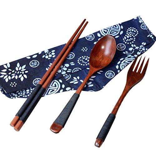 HCFKJ Japanische Vintage Holz EssstäBchen LöFfel Gabel Geschirr 3 StüCke Set Neues Geschenk
