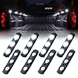 Xprite Led Rock Light for Bed Truck, 24 LEDs Cargo Truck Pickup Bed, Off Road Under Car, Foot Wells, Rail Lights, Side Marker LED Rock Lighting Kit w/Switch White - 8 PCs