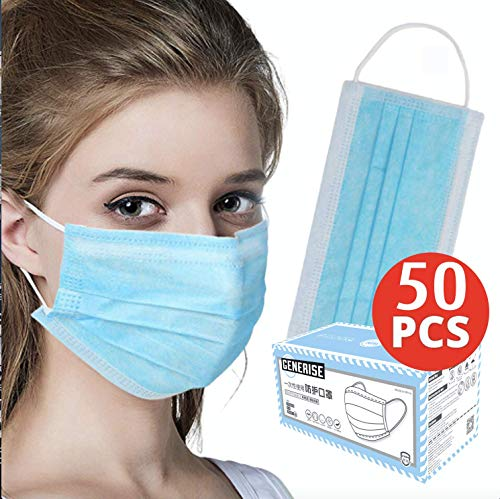 Surgical Face Masks – X50 BOXED 3Ply Non-Medical Face Masks UK Stock Blue EN149:2001 – Breathable, Disposable Face Masks…