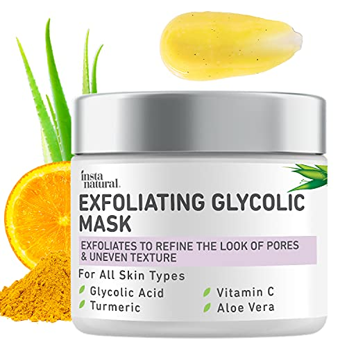 InstaNatural Exfoliating Glycolic Face Mask & Facial Scrub - Blackhead Treatment for Brightening and Exfoliation with Turmeric & Vitamin C - Natural AHA Enzyme Exfoliant for Scars & Glowing Skin