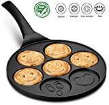 Gourmia GPA9540 Emoji Smiley Face Pancake Pan - Fun 7 Emoji Mini Pancake and Flapjack Maker - Die...