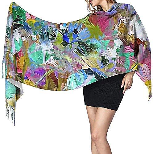 Bufanda de cachemira estampada de flores de colores para mujer Bufanda cálida informal Chal grande