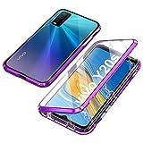 Hülle Kompatibel mit Vivo Y20s / Vivo Y11s, Magnetische Adsorption 360 Grad Handyhülle Gehärtetes Glas Aluminium Rahmen Magnet Transparent Hülle, Lila