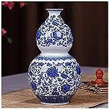 Jarrones decorativos Jarrón cerámico antiguo azul y blanco porcelana rica bambú sala de estar TV gabinete decoración china casa oficina de escritorio decoración para flores, c (color: b) ( Color : C )