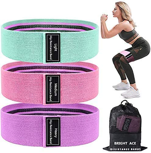 BRIGHT ACE Resistance Bands 3 Sets, Premium Exercise Loops with Non-Slip Design for Hips & Glutes, 3 Resistance Level Workout Booty Bands for Women and Men, Best for Home Fitness, Yoga, Pilates
