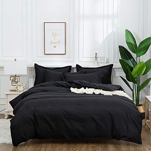 QXbecky Bedding Solid Color 1cm Satin Strip Simple Pillowcase Zipper Closure Quilt Cover 3 Piece Set Without Sheet