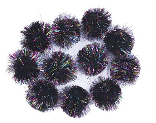 YYCRAFT 30pcs Large Glitter Tinsel Pom Poms Sparkle Balls for DIY Craft,Cat Toys-Rainbow Black(1.5 Inch)