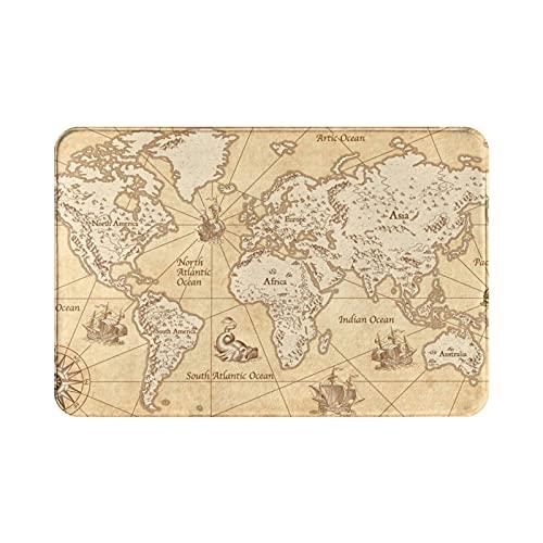 Alfombra de baño con diseño de mapa del mundo en estilo vintage con montañas, árboles, ciudades, alfombra de baño, cocina, ducha, sala de estar, baño, supersuave, antideslizante