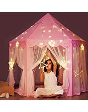 خيمة لعب الاميرة بتصميم قلعة مع اضواء النجوم، مناسبة للبنات للاستخدام في الاماكن المغلقة والمفتوحة، هدية مناسبة لاعياد ميلاد البنات