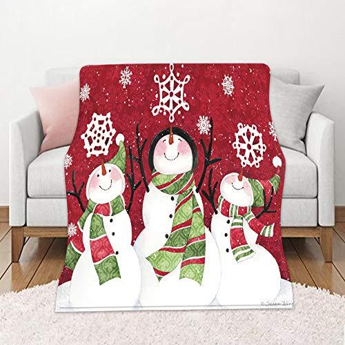 Chickwin Weihnachten 3D Flanelldecke Kuscheldecke, Super Soft Weiche Wohndecke Warm Flauschige Decke TV-Decke Mikrofaserdecke Sofadecke oder Bettüberwurf Tagesdecke (Schneeflocke,150x220cm)