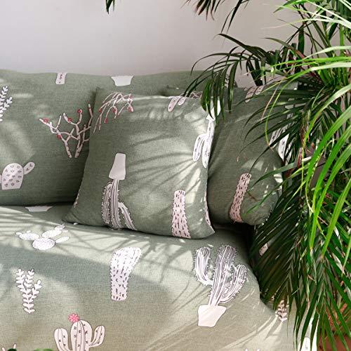 ENZER Funda de Sofa Elastica Ajustables Cubre Sofas Universal Fundas para Sofa,Cactus,2 x Fundas para Cojines