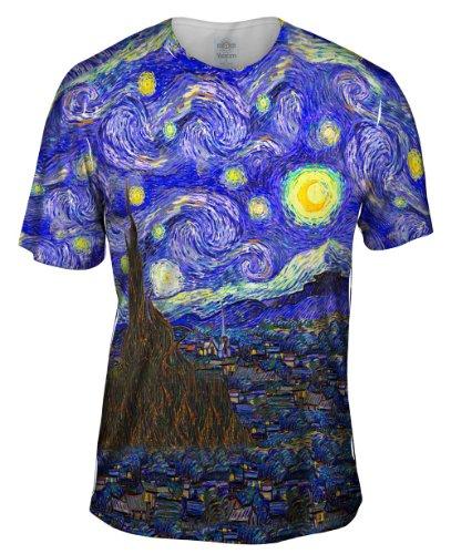 Yizzam- Vincent Van Gogh - The Starry Night -Tshirt- Mens Shirt-X-Large